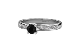 Black Solitaire Round Cut Diamond 14K Gold Engagement Ring