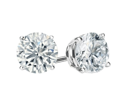 0.5 CT Round Shape Diamond and Gold Stud Earring